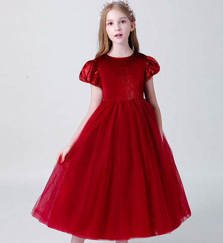 Girly Shop's Red Simple Ruffle Cap Sleeve Tea Length Multi Layered Infant Toddler Little & Big Girl Party Gown