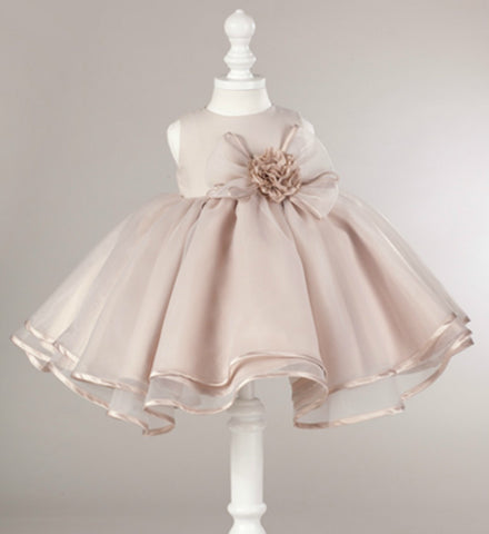 Girly Shop's Light Brown Big Flower Bows Children Party Dress