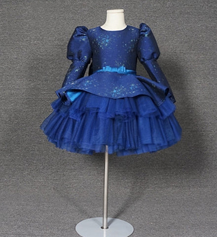 Girly Shop's Royal Blue Beautiful Round Neckline Puff Long Sleeve Bow Back Tiered Layered Infant Toddler Little & Big Girl Party Gown