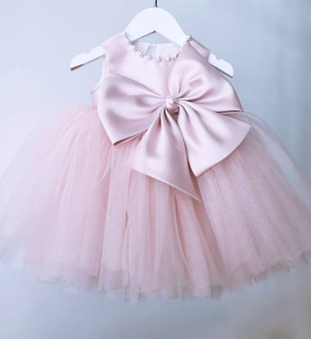 Girly Shop's Morandi Pink Beautiful Pearl Applique Round Neckline Sleeveless Knee - Tea Length Baby Infant Toddler Little Girl Large Bow Dress