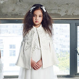 Girly Shop's White Handmade Embroidered Flower Rattan Vintage Cape/Cloak