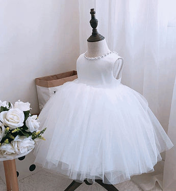 Girly Shop's White Cute Pearl Applique Round Neckline Sleeveless Tea - Knee Length Large Bow Back Baby Infant Toddler Little Girl Backless Tutu Dress