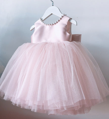 Girly Shop's Pink Cute Pearl Applique Round Neckline Sleeveless Tea - Knee Length Large Bow Back Baby Infant Toddler Little Girl Backless Tutu Dress