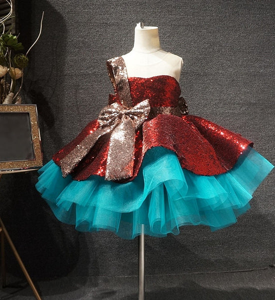 Girly Shop's Red & Blue Sequin Bow Sash Applique Sheer Round Neckline Big Bow Back Sleeveless Tiered Layered Toddler Little & Big Girl Party Sequin Bodice Gown