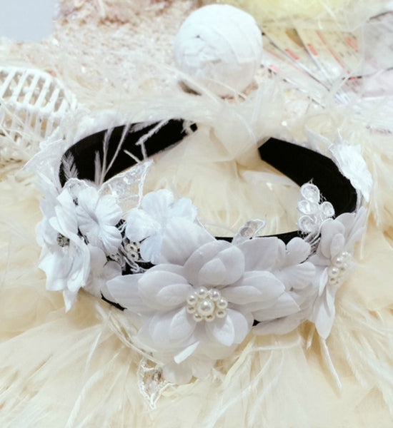 Girly Shop's Black & White Toddler Little & Big Girl Sequin Paillette & Petal Flower Headband