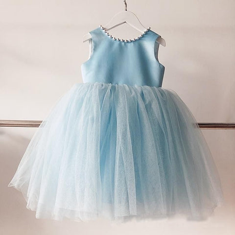 Girly Shop's Sky Blue Cute Pearl Applique Round Neckline Sleeveless Tea - Knee Length Large Bow Back Baby Infant Toddler Little Girl Backless Tutu Dress