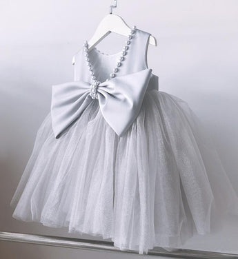 Girly Shop's Light Gray Cute Pearl Applique Round Neckline Sleeveless Tea - Knee Length Large Bow Back Baby Infant Toddler Little Girl Backless Tutu Dress
