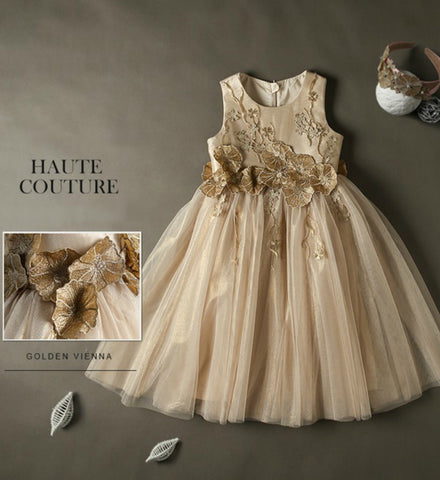 Girly Shop's Gold Embroidered Flower Vine Applique Flower Girl Gown