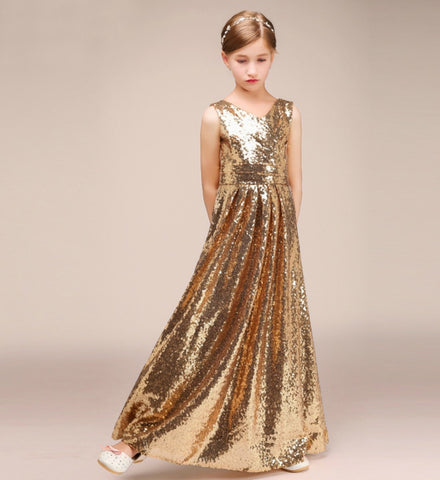 Girly Shop's Gold Sweetheart Neckline Sleeveless Floor Length Infant Toddler Little & Big Girl Sequin Tutu Dress