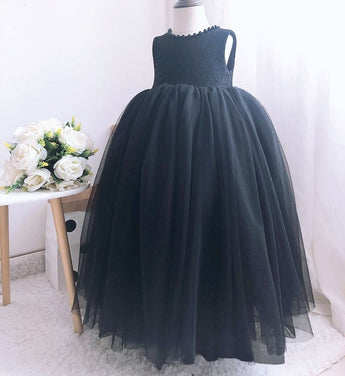 Girly Shop's Black Cute Pearl Applique Round Neckline Sleeveless Knee Length Large Bow Back Baby Infant Toddler Little Girl Backless Tutu Dress