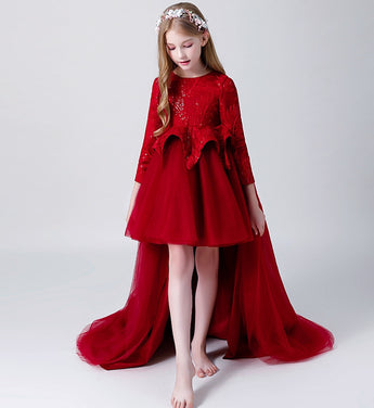 Girly Shop's Red Elegant Floral Embroidery & Sequin Applique Round Neckline Long Sleeve Knee Length Infant Toddler Little Girl Tiered High Low Train Gown