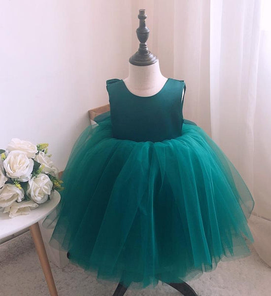 Girly Shop's Dark Green Beautiful Round Neckline Sleeveless Knee - Tea Length Baby Infant Toddler Little Girl Large Bow Back Ruffle Dress