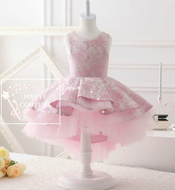 Girly Shop's Pink Beautiful & Elegant Sleeveless Round Neckline Knee Length Tiered Layered Little & Big Girl High Low Gown