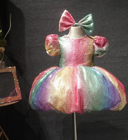 Girly Shop's Rainbow Color Sparkle Sequin Round Neckline Bubble Short Sleeve Toddler Little & Big Girl Balloon Sequin Gown
