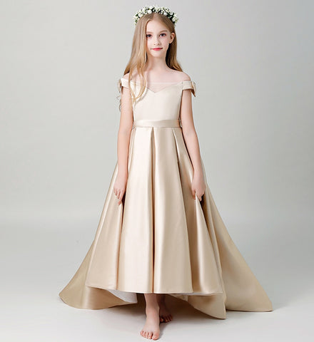 Girly Shop's Champagne Simple Off Shoulder Sweetheart Neckline Ankle Length Multi Layered Infant Toddler Little & Big Girl High Low Train Gown