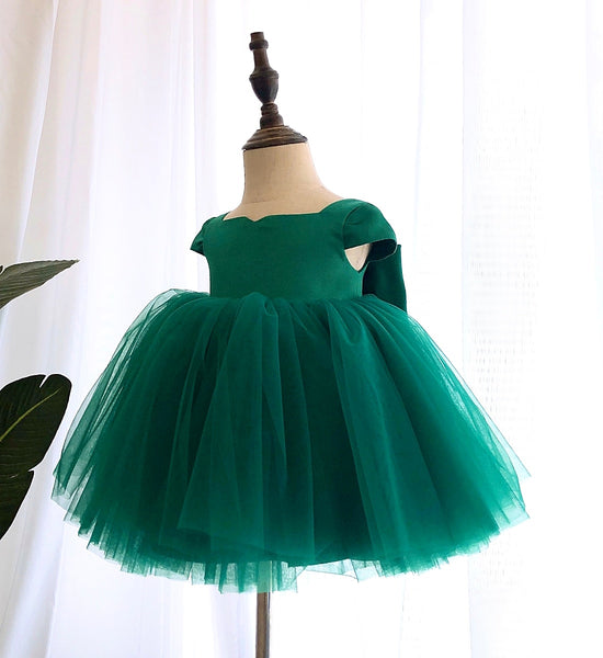 Girly Shop's Dark Green Beautiful Square Neckline Cap Sleeves Knee - Tea Length Baby Infant Toddler Little Girl Large Bow Back Dress