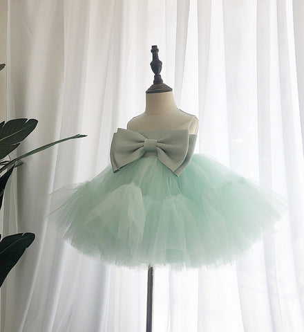 Girly Shop's Light Green Beautiful Sheer Round Neckline Sleeveless Knee - Tea Length Baby Infant Toddler Little Girl Large Bow Front Dress