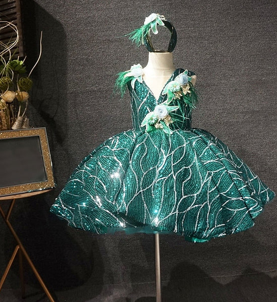 Girly Shop's Green Embroidery Floral Applique Sweetheart Neckline Sleeveless Toddler Little & Big Girl Party Sequin Flower Gown