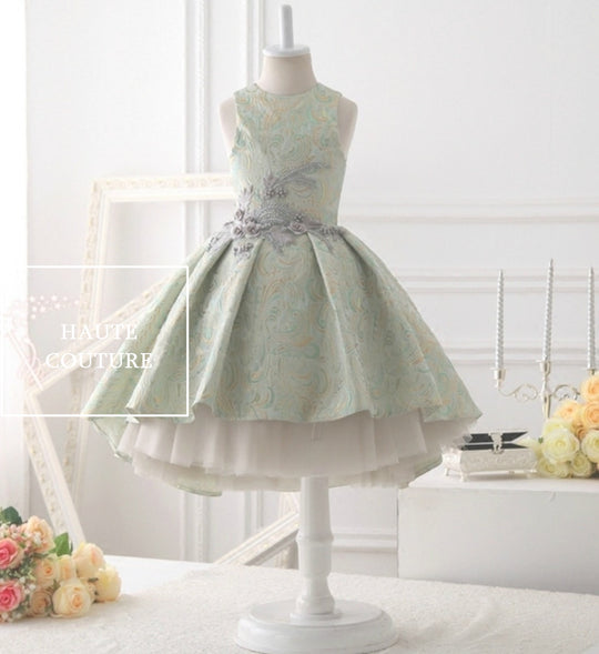 Girly Shop's Pistachio Green Beautiful & Elegant Sleeveless Round Neckline Knee Length Tiered Layered Little & Big Girl High Low Gown