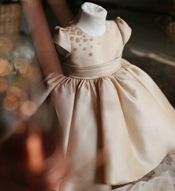 Girly Shop's Khaki Cap Sleeve Flower Girl Dress