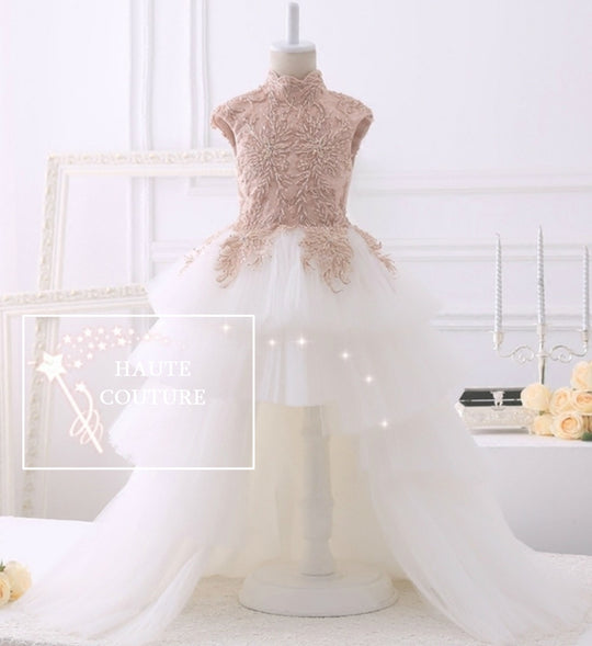 Girly Shop's Pink Beige & White Beautiful & Elegant Sleeveless Floor Length Tiered Layered Beaded Floral Applique Little & Big Girl Asymmetrical High Low Dress