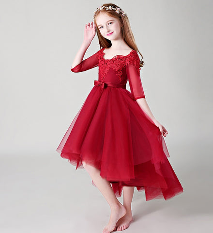 Girly Shop's Red Simple Floral Embroidered Applique Off Shoulder Half Sleeve Knee Length Multi Layered Infant Toddler Little & Big Girl High Low Gown