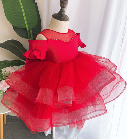 Girly Shop's Red Beautiful Pearl Applique Sheer Round Neckline Short Sleeve Tea - Knee Length Large Bow Back Tiered Layered Baby Infant Toddler Little Girl Party Dress