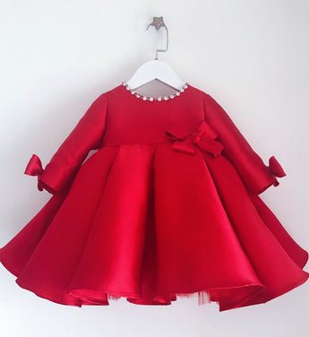 Girly Shop's Red Beautiful Pearl Applique Round Neckline Long Sleeve Knee - Tea Length Baby Infant Toddler Little Girl Large Bow Back Dress