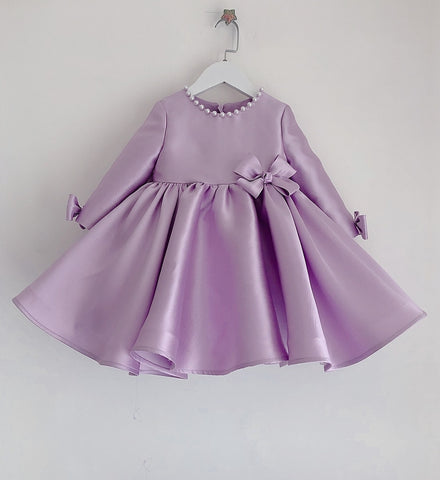 Girly Shop's Lavender Beautiful Pearl Applique Round Neckline Long Sleeve Knee - Tea Length Baby Infant Toddler Little Girl Large Bow Back Dress