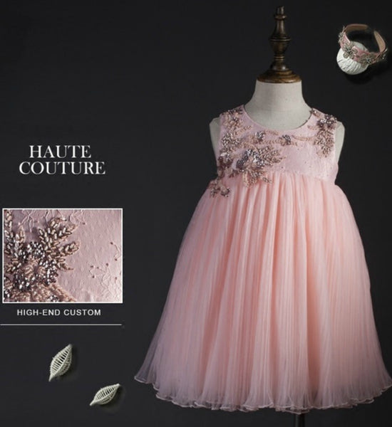 Girly Shop's Light Pink Rattan Flower Applique Knee Length Beaded Dress