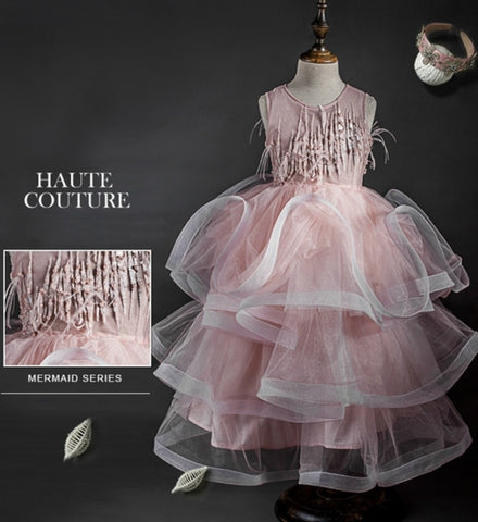 Girly Shop's Light Pink 3D Handmade Ostrich Feather & Pearl Sequins Applique Round Neckline Sleeveless Tiered Layered Floating Layers Infant Toddler Little & Big Girl Flower Girl Dress