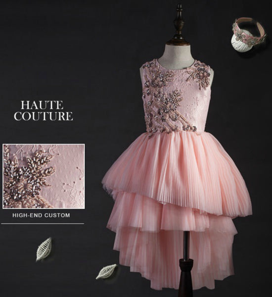 Girly Shop's Light Pink Floral Applique Beaded High Low Junior Bridesmaid Gown