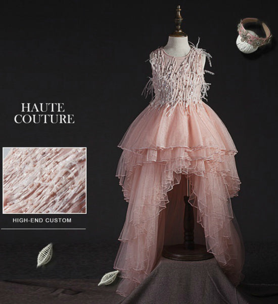 Girly Shop's Pink Snakebird Hair & Pearl Applique High Low Flower Girl Dress
