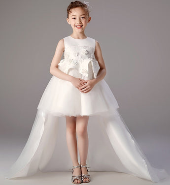 Girly Shop's White Elegant Floral Embroidery & Sequin Applique Round Neckline Sleeveless Knee Length Infant Toddler Little Girl Tiered High Low Train Gown