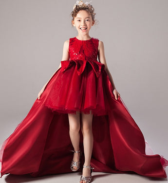 Girly Shop's Red Elegant Floral Embroidery & Sequin Applique Round Neckline Sleeveless Knee Length Infant Toddler Little Girl Tiered High Low Train Gown