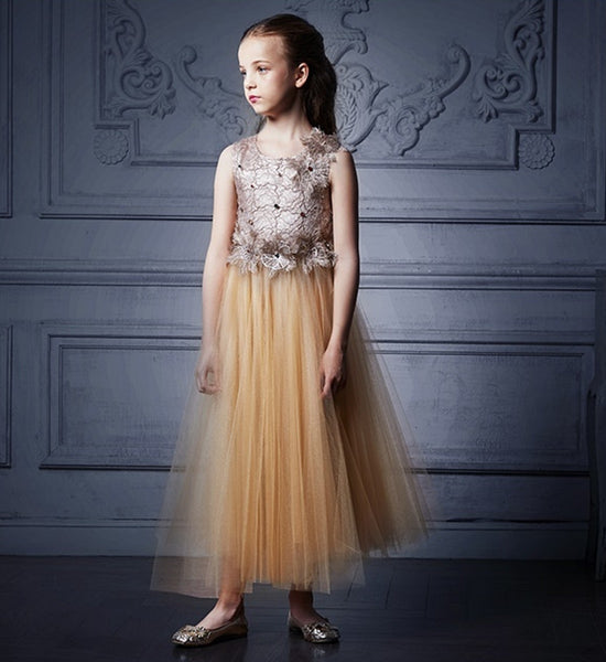 Girly Shop's Brown & Gold Beautiful Floral Embroidered Applique Round Neckline Sleeveless Ankle - Floor Length Little & Big Girl Floral Tutu Dress