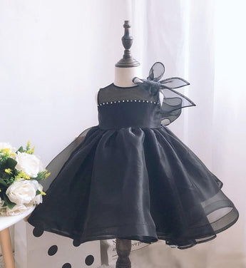 Girly Shop's Black Beautiful Bow Shoulder Rhinestone Applique Sheer Round Neckline Sleeveless Knee - Tea Length Baby Infant Toddler Little Girl Large Bow Back Dress