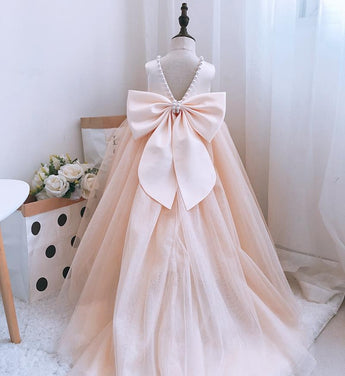 Girly Shop's Champagne Cute Pearl Applique Round Neckline Sleeveless Tea - Knee Length Large Bow Back Baby Infant Toddler Little Girl Backless Long Train Gown