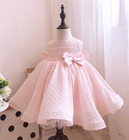 Girly Shop's Bare Pink Beautiful Round Neckline Sleeveless Knee - Tea Length Baby Infant Toddler Little Girl Large Bow Back Dress