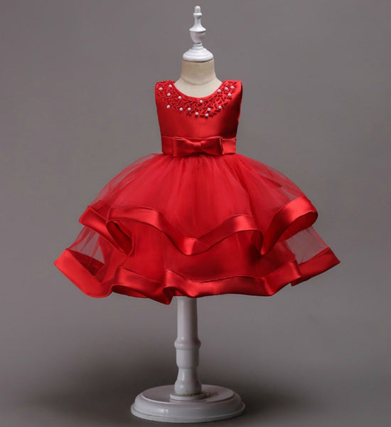 Girly Shop's Red Beautiful & Cheap Round Neckline Sleeveless Knee Length Tiered Layered Infant Toddler Little & Big Girl Party Dress