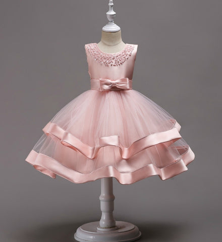 Girly Shop's Pink Beautiful & Cheap Round Neckline Sleeveless Knee Length Tiered Layered Infant Toddler Little & Big Girl Party Dress