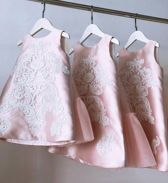 Girly Shop's Pink Unique Design Jacquard Embroidered Flower Applique Round Neckline Sleeveless Knee - Tea Length Bow Back Baby Infant Toddler Little Girl Dress With Detachable Cape - Wings