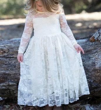 Girly Shop's White Lace Flower Girl Dress