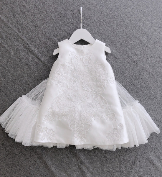 Girly Shop's White Unique Design Jacquard Embroidered Flower Applique Round Neckline Sleeveless Knee - Tea Length Bow Back Baby Infant Toddler Little Girl Dress With Detachable Cape - Wings