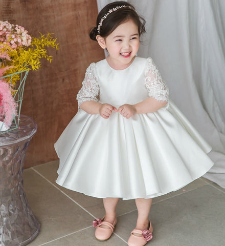 Girly Shop's White Beautiful Round Neckline Semi Sheer Half Sleeve Knee - Tea Length Big Bow Back Baby Infant Toddler Little & Big Girl Party Lace Floral Dress