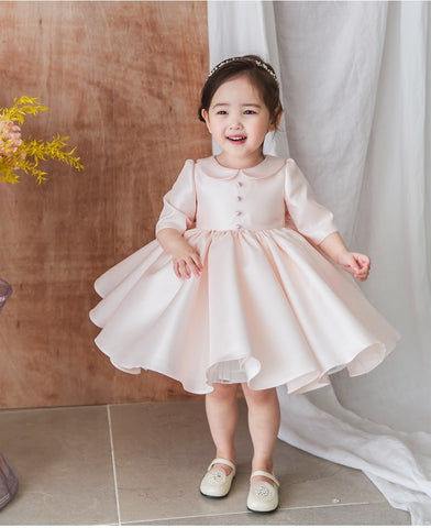Girly Shop's Light Pink Cute Peter Pan Collar Half & Long Sleeve Knee - Tea Length Big Bow Back Baby Infant Toddler Little & Big Girl Party Dress