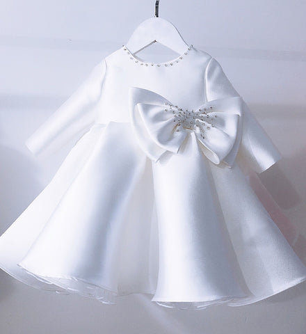 Girly Shop's White Beautiful Pearl Applique Round Neckline Long Sleeve Bow Front Knee - Tea Length Baby Infant Toddler Little Girl Large Bow Back Dress