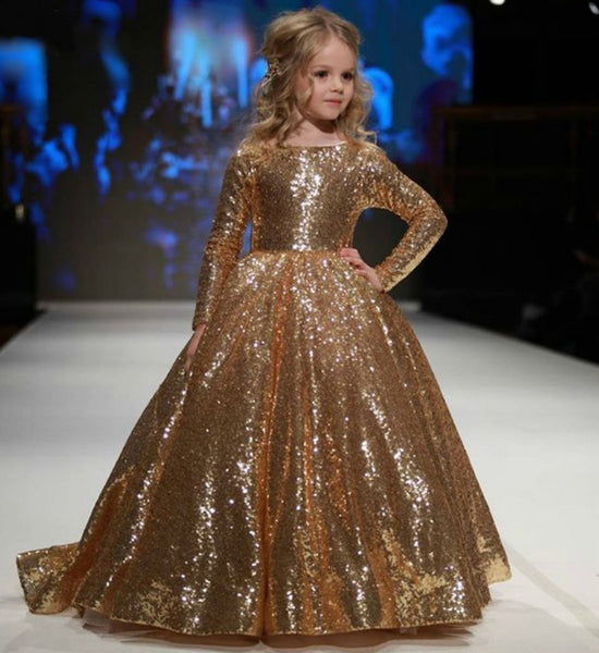 Girly Shop's Gold Round Neckline Long Sleeve Floor Length Infant Toddler Little & Big Girl Sparkle Sequin Ruffle Party Gown