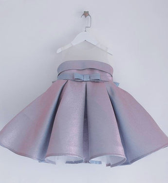 Girly Shop's Shiny Blue Beautiful Sheer Round Neckline Sleeveless Large Bow Knee - Tea Length Baby Infant Toddler Little Girl Ruffle Dress