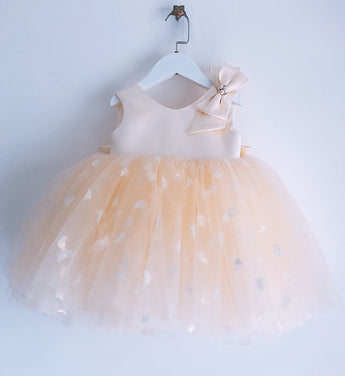 Girly Shop's Ivory Champagne Cute Shoulder Bow Applique Round Neckline Sleeveless Large Bow Back Knee - Tea Length Baby Infant Toddler Little Girl Ruffle Dress